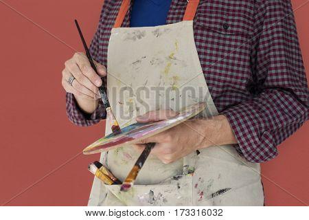 Man Holding Paint Brush Palette Artist