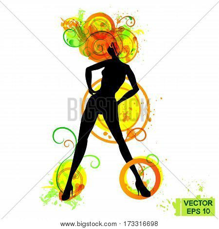 Black Elegant Woman Silhouette And Color Abstraction
