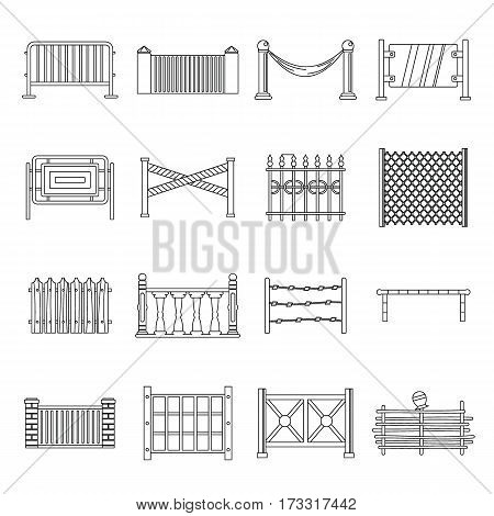 Fencing icons set. Outline illustration of 16 different fencing vector icons for web