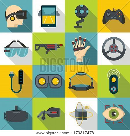Virtual reality icons set. Flat illustration of 16 virtual reality vector icons for web