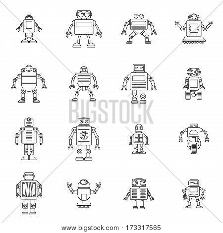 Robot icons set. Outline illustration of 16 robot vector icons for web