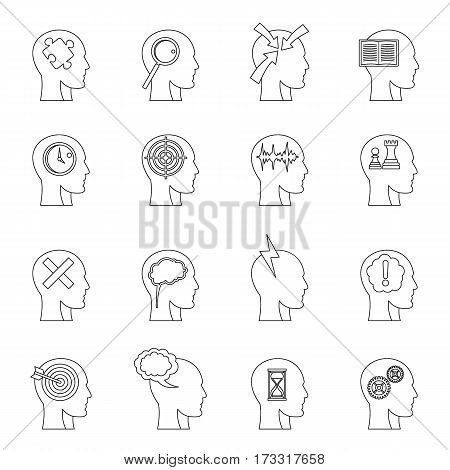 Head logos icons set. Outline illustration of 16 head logos vector icons for web
