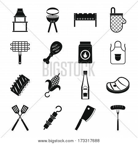 BBQ food icons set. Simple illustration of 16 BBQ food vector icons for web
