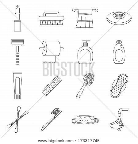 Hygiene tools icons set. Outline illustration of 16 hygiene tools vector icons for web