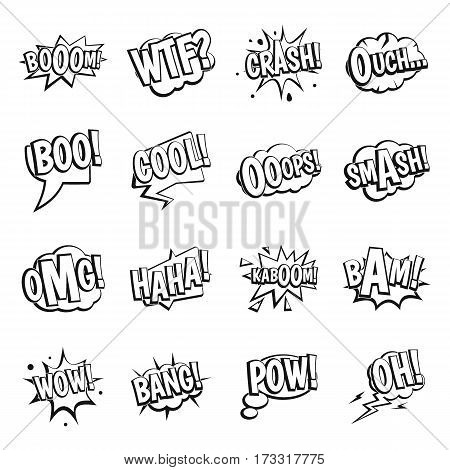Comic colored sound icons set. Simple illustration of 16 comic colored sound vector icons for web