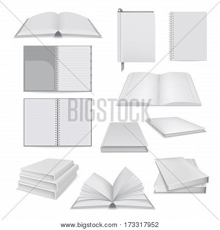 Book notepad mockup set. Realistic illustration of 10 book notepad mockups for web