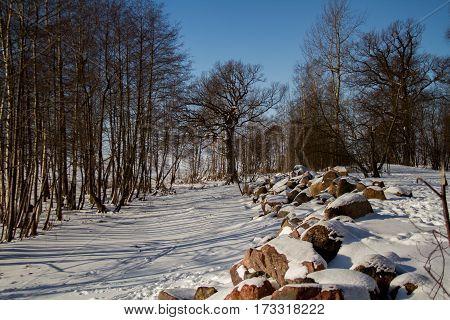 St. Petersburg, Sestroretsk -26.02.2017: Sestroretsk, the Gulf of Finland in winter