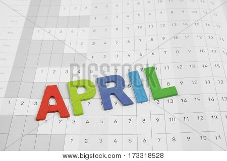 April - month on date number calendar paper - colorful uppercase text