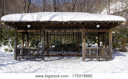 Snow And Wooden Pavilion Elevation In The Forest Noboribetsu Onsen