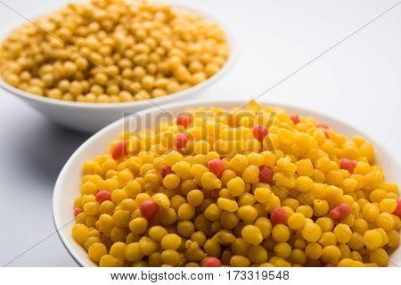 indian sweet boondi or bundi in raw form, main ingredient of bundi laddoo or can eat as is