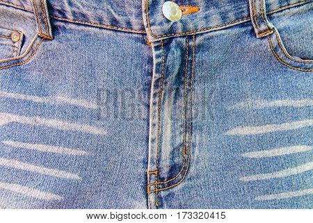 Close up jean zipper on denim texture