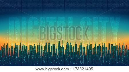 The digital city. Abstract futuristic city, high-tech background. Network digital technology concept, cloud service