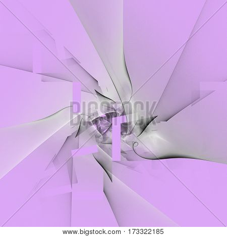 Abstract Swirling Smoky Grey Shapes On Purple Background. Fantasy Fractal Design. Digital Art. 3D Re