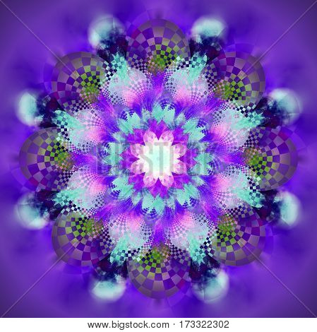 Exotic Flower. Abstract Fractal Mandala In Purple, Green And Blue Colors. Digital Art. 3D Rendering.