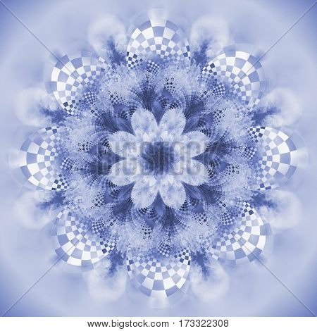 Exotic Flower. Abstract Fractal Mandala In Blue Colors. Digital Art. 3D Rendering.