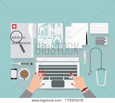 Medical diagnostics conceptual on work table with doctor diagnostic and equipment for research of a laptop Medical technology analysis and research Web banner flat design Vector illustration.