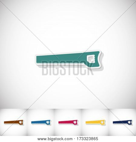Handsaw. Flat sticker with shadow on white background. Vector illustration