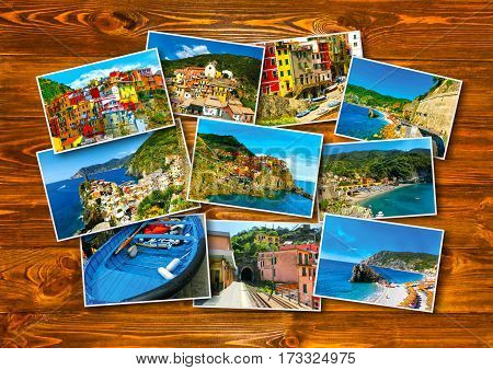 The collage of Cinque Terre photos in Italy