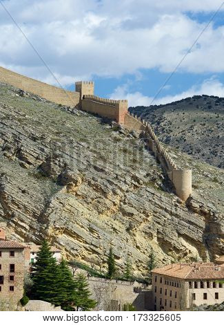 Medieval tower and wall in the town of Albarracin, Teruel, Aragon, Spain.