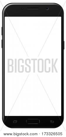 Brand new smartphone black color with blank screen isolated on white background mockup. Front view of modern android multimedia smart phone  easy to edit and put your image.