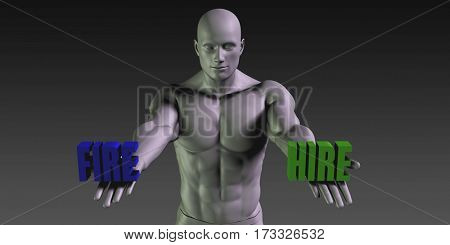 Hire or Fire as a Versus Choice of Different Belief 3D Illustration Render