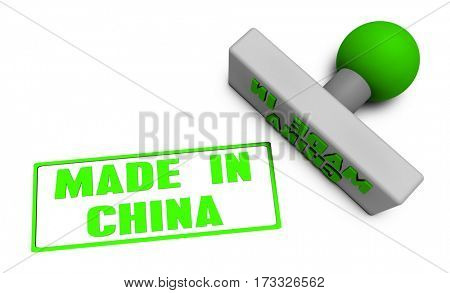 Made in China Stamp or Chop on Paper Concept in 3d 3D Illustration Render