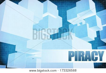 Piracy on Futuristic Abstract for Presentation Slide 3D Illustration Render