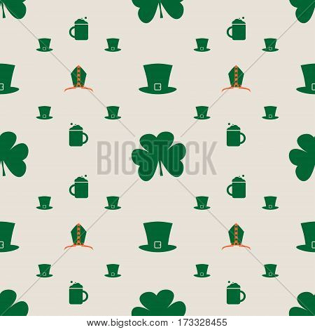 St. Patrick's Day greeting card template. Bishop mitre with shamrock. Beer mug and green hat. Vector illustration. Seamless backdrop