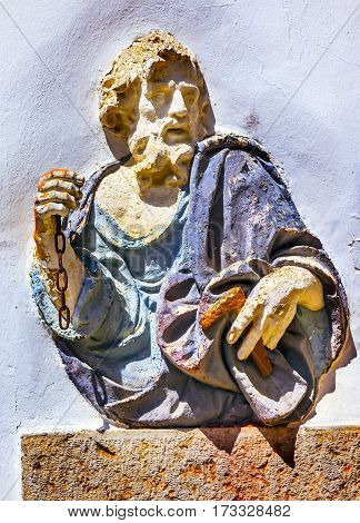 OBIDOS, PORTUGAL - MAY 11, 2014 Blue Saint Peter Statue Wall Street Medieval Town Obidos Portugal.