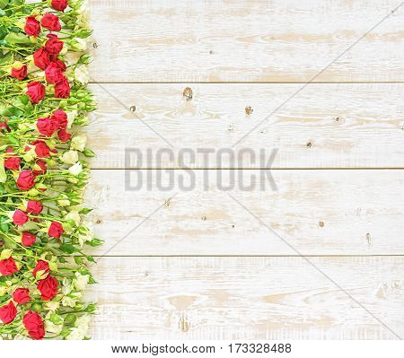 Roses on a wooden background. Spring flowers.