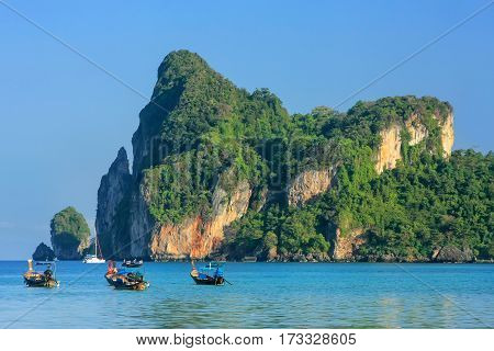 Ao Loh Dalum Bay With Anchored Longtail Boats On Phi Phi Don Island, Krabi Province, Thailand