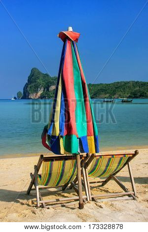 Umrella And Sunchairs At Ao Loh Dalum Beach On Phi Phi Don Island, Krabi Province, Thailand
