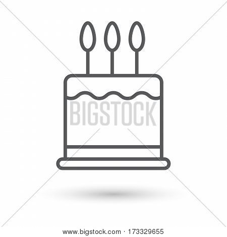 birthday cake outline vector icon for web with shadow