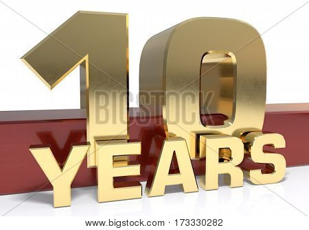 Golden digit ten and the word  years. 3D illustration