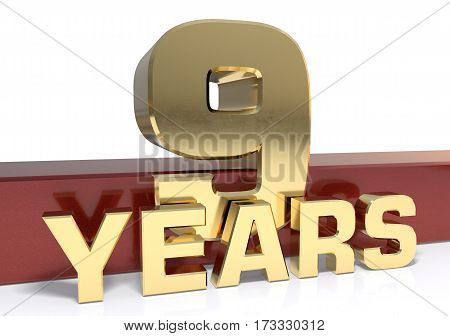 Golden digit nine and the word  years. 3D illustration