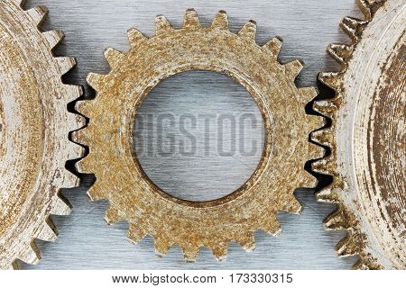 Old Rusty Corroded Cogwheels For Industrial Machines Macro
