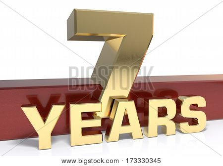 Golden digit seven and the word  years. 3D illustration