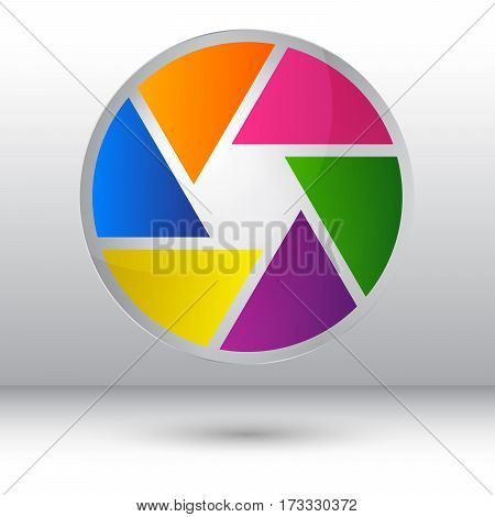 Shutter icon isolated on grey studio background for web design app logo UI vector illustration