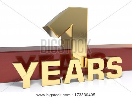 Golden digit one and the word  years. 3D illustration