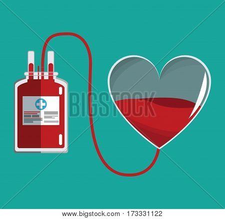 donate blood glass heart and iv bag vector illustration eps 10