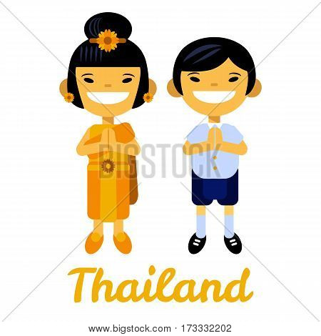Thailand, Asian children, thai girl and boy, cartoon characters in traditional costume on white background. Vector illustration flat design elements