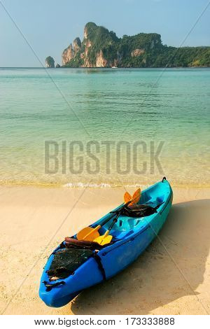 Colorful Kayak At Ao Loh Dalum Beach On Phi Phi Don Island, Krabi Province, Thailand
