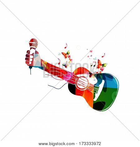 Colorful acoustic guitar with hand and microphone. Music instrument with music notes background vector illustration. Design for poster, brochure, invitation, banner, flyer, concert and music festival
