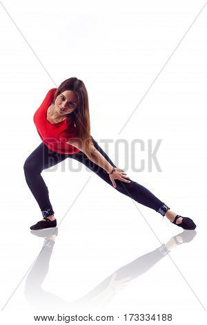 Beautiful Woman In The Active Dance. Studio Shot. Isolated.