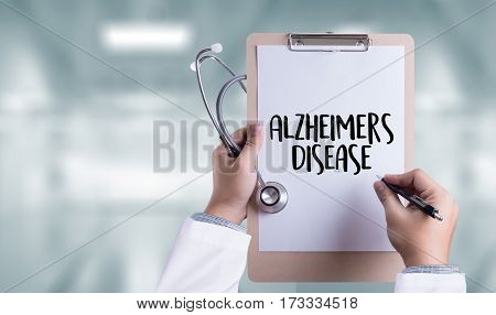 Alzheimers Disease concept Medical Report with Composition of Medicaments