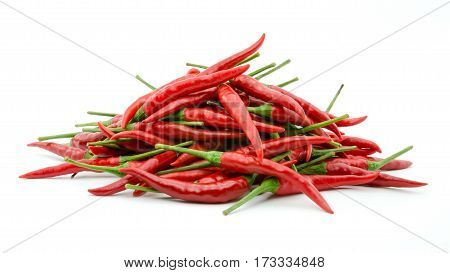 Stack of hot chili pepper or small chili padi isolated on white background
