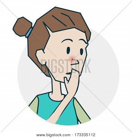 I popped a pimple on the face. Icon on medical subjects. Illustration of a funny cartoon style