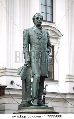 Statue of Nils Ericson in front of Stockholm Central Station and Stockholm Central Train Station in Stockholm Sweden