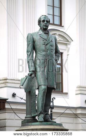 Statue of Nils Ericson in front of Stockholm Central Station and Stockholm Central Train Station in Stockholm Sweden