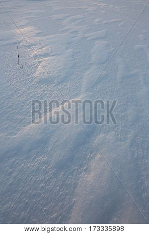 Windblown snow patterns at a cold winter evening